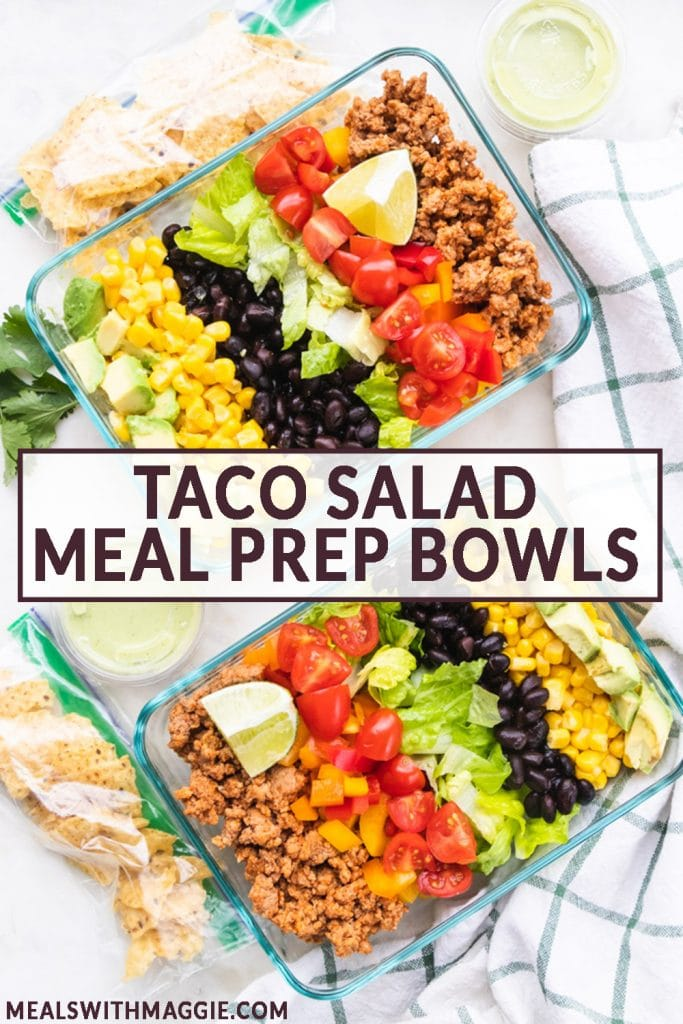 Tupperware filled with healthy taco salad and text in the middle.
