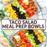 two meal prep bowls with taco salad in them