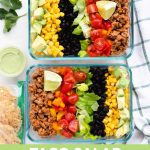 taco salad meal prep bowls with text.