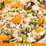 a bowl with asian chicken salad and text under it.
