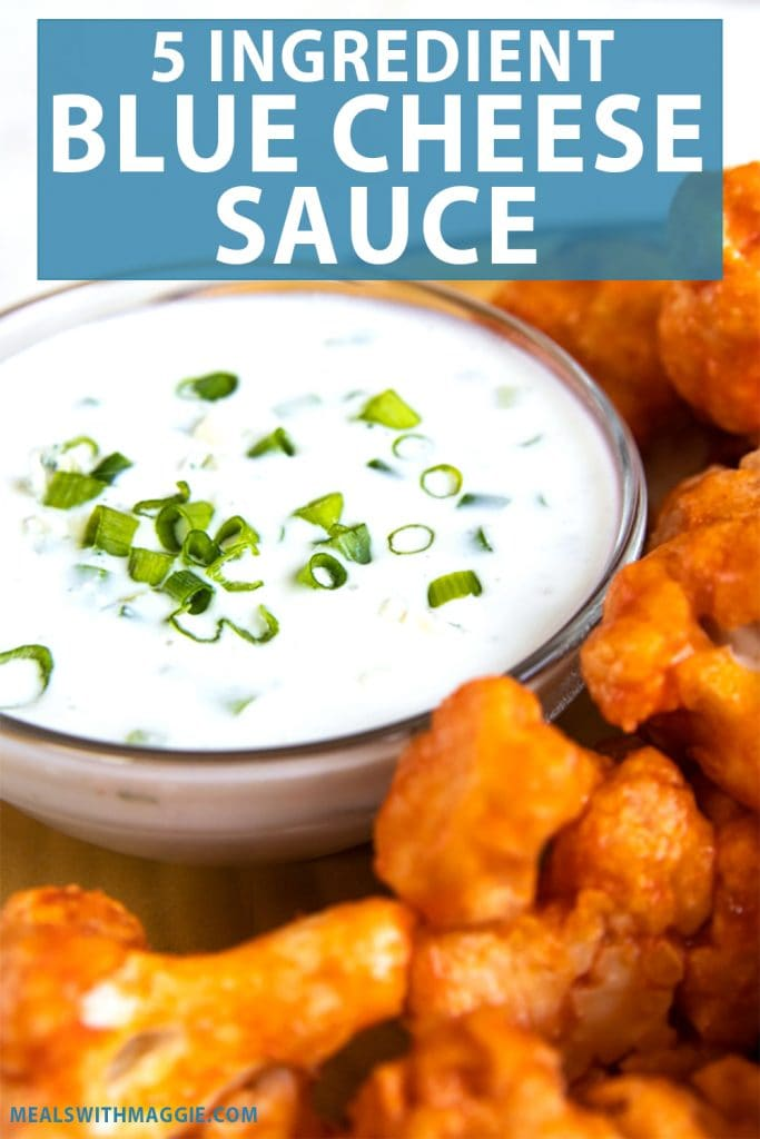 blue cheese sauce in a dish with cauliflower and text above it.