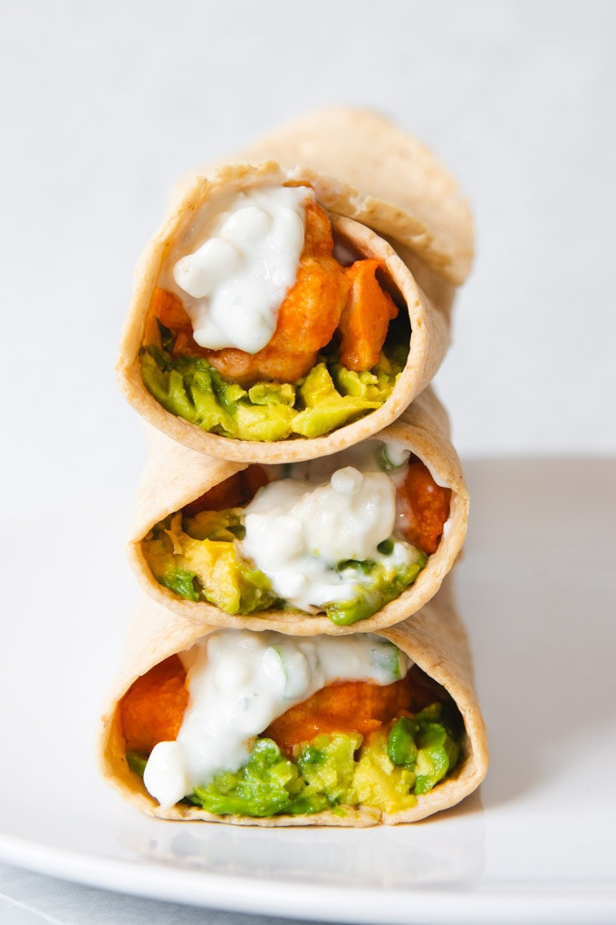 three wraps stacked on top of one another.