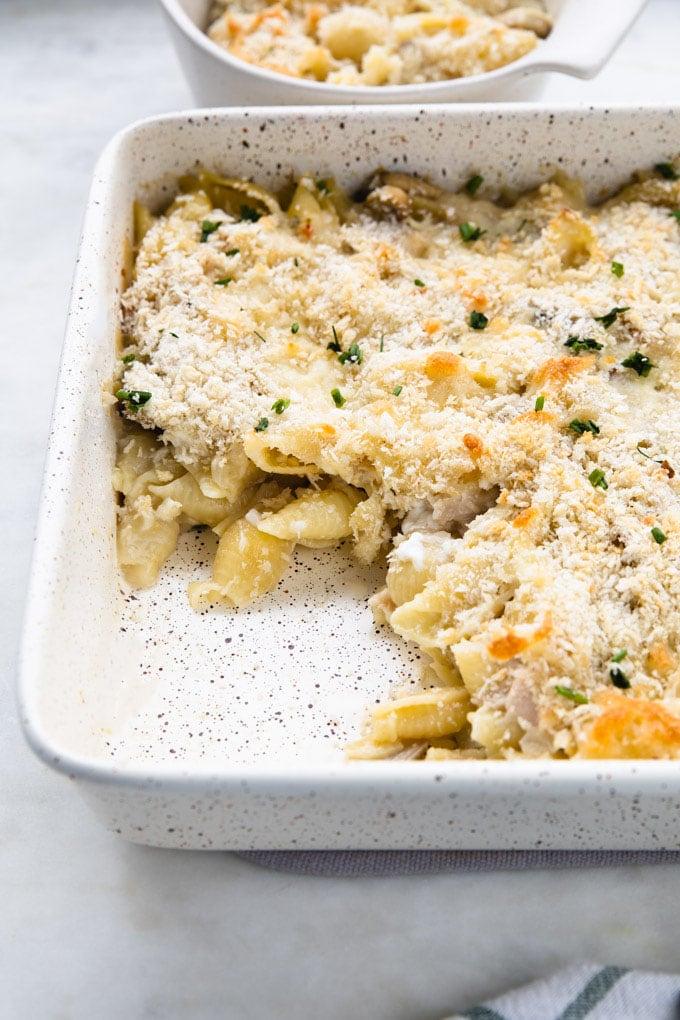 healthy tuna casserole in a dish.