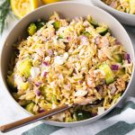 salmon orzo salad in a bowl