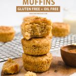 a stack of muffins with text above it.
