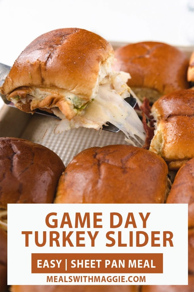 A turkey slider with a cheese and game day slider text under it.