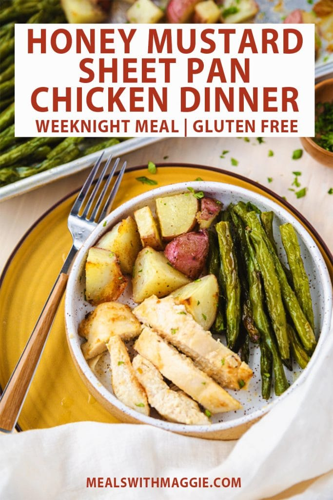 Honey mustard chicken with vegetables with text above it.