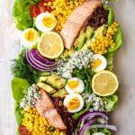 salmon Cobb salad on a large plate