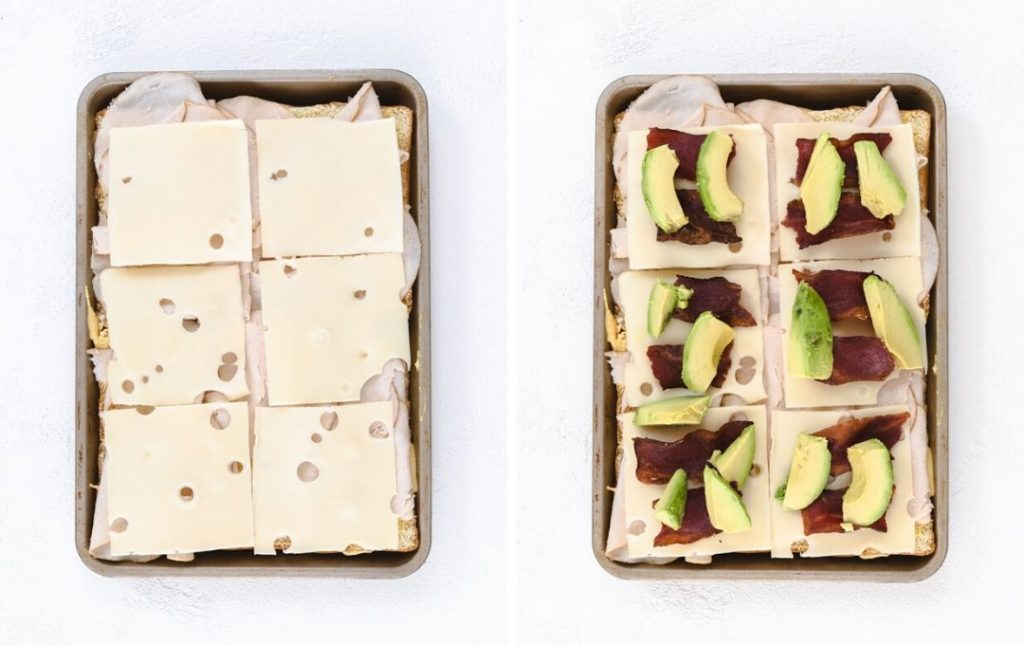 sheet pan turkey sliders side by side toppings with avocado.