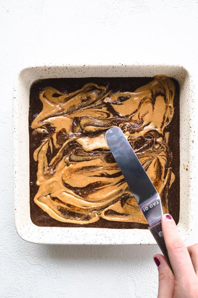 swirling peanut butter for marbling