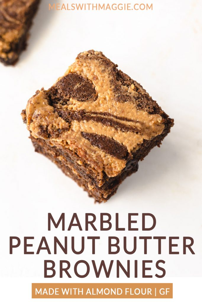 marbled peanut butter brownies stacked on top of each other with text.