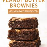stacked brownies with text above it.