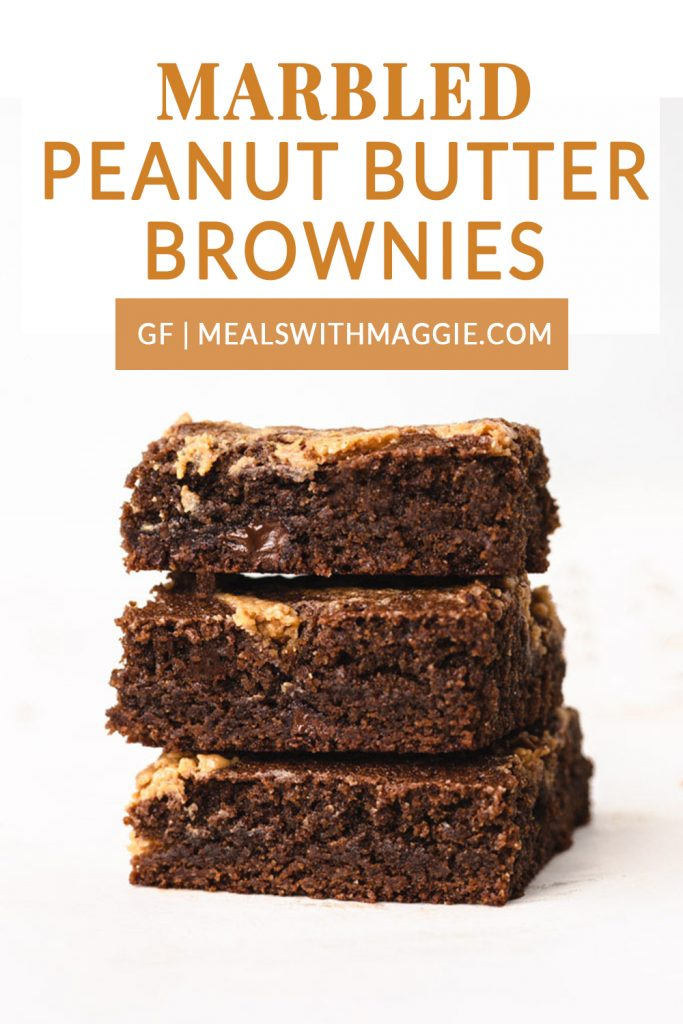 Stacked brownies with text.