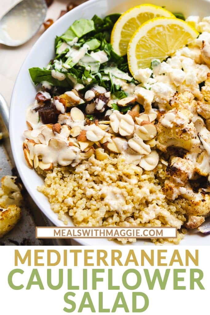 A bowl of Mediterranean salad with quinoa and lemon tahini dressing.