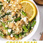 a bowl of green bean quinoa salad with feta and lemon.