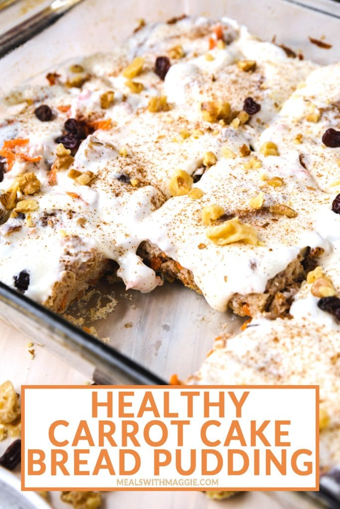 Carrot cake bread pudding in a casserole dish for easter brunch.
