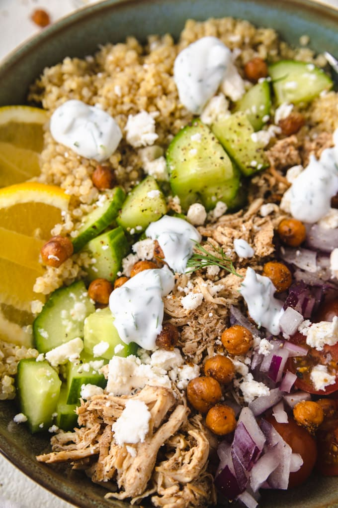Up close shot of ingredients in chicken shawarma bowl.