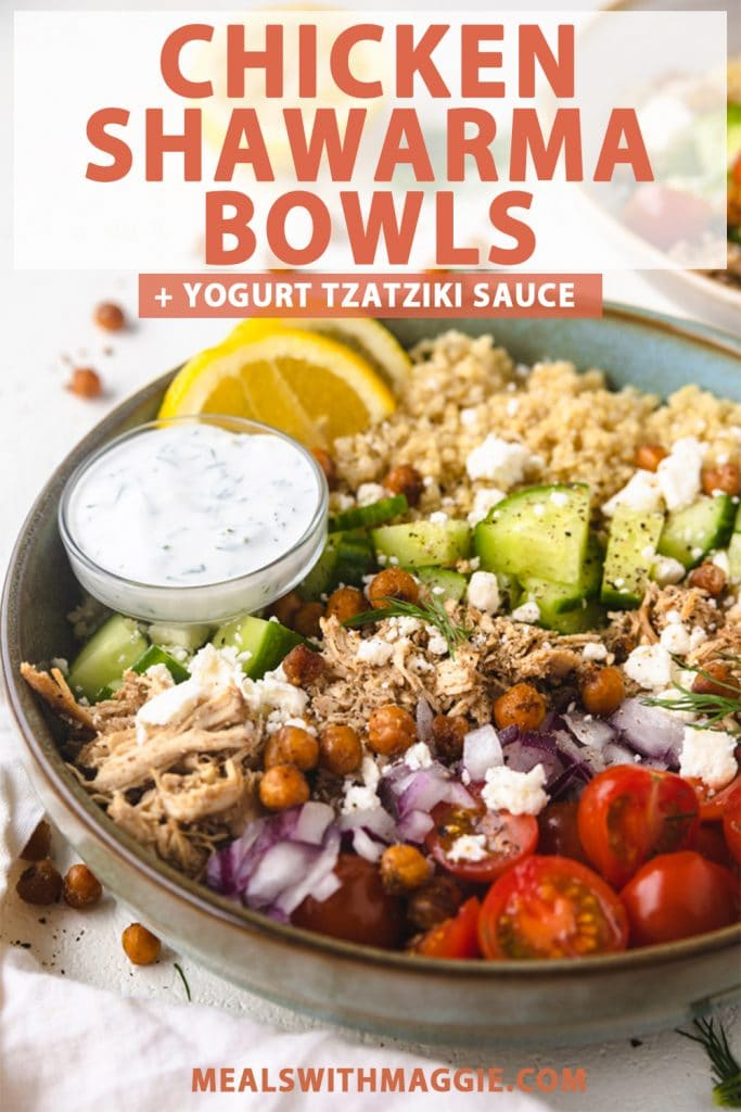 chicken shawarma in a bowl with tzatziki sauce next to it.
