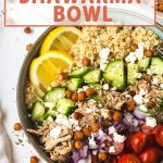a bowl of chicken shawarma with text above it.