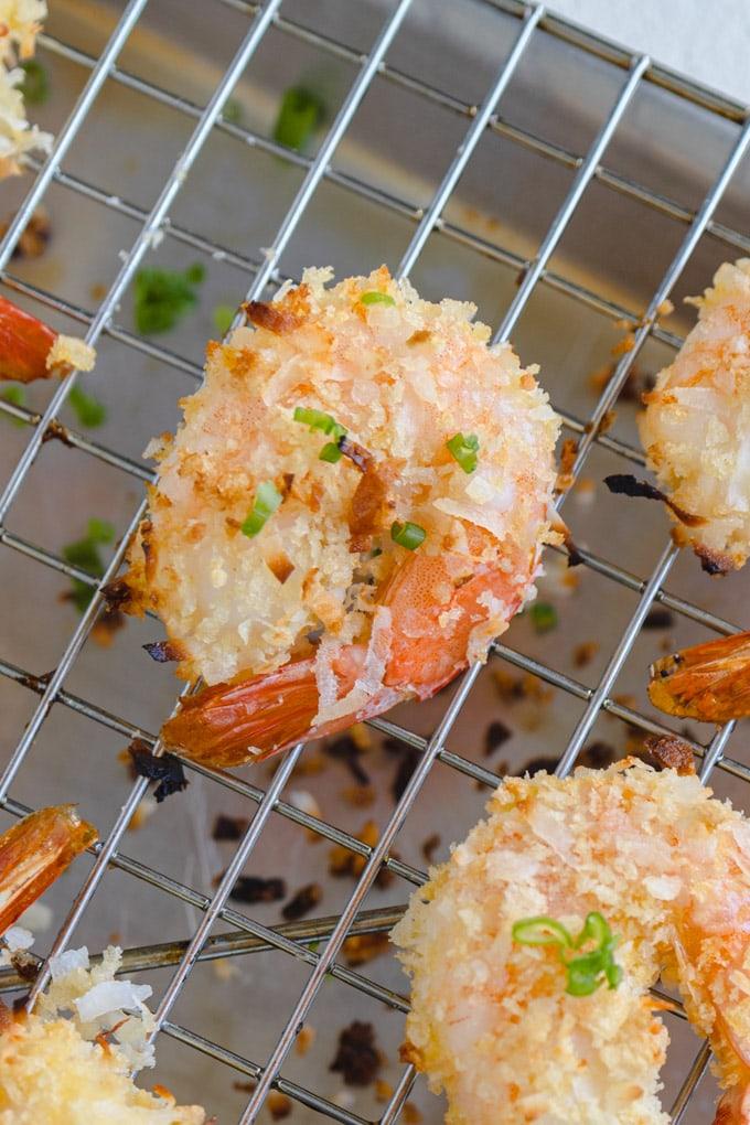 baked shrimp on a baking sheet.