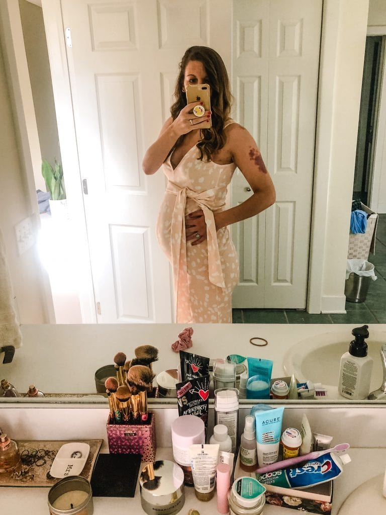 A shower dress mirror picture.