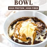edible Brownie batter bowl with text above it