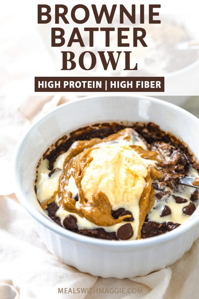 brownie batter bowl with text. Ice cream with toppings in brownie bowl.