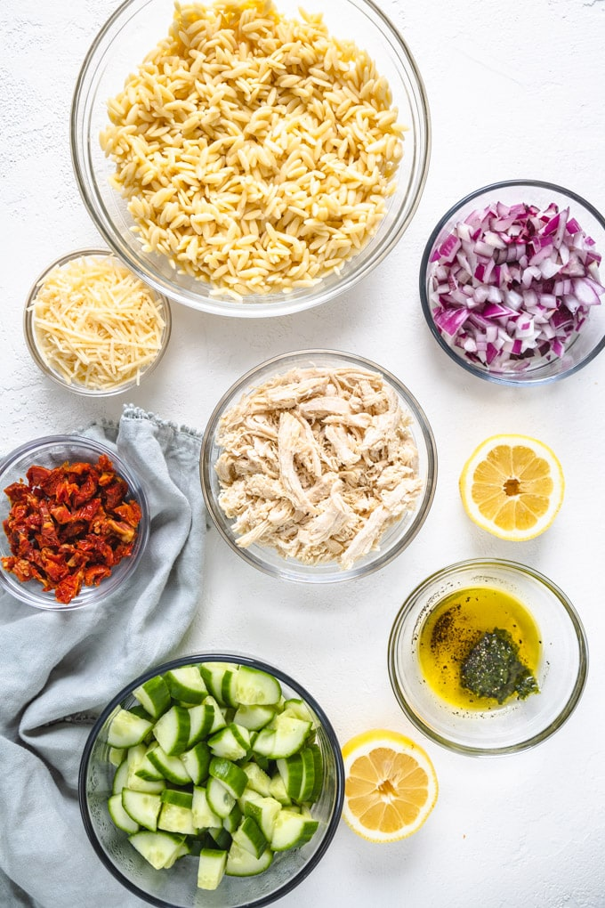 ingredients for chicken pasta salad in bowls