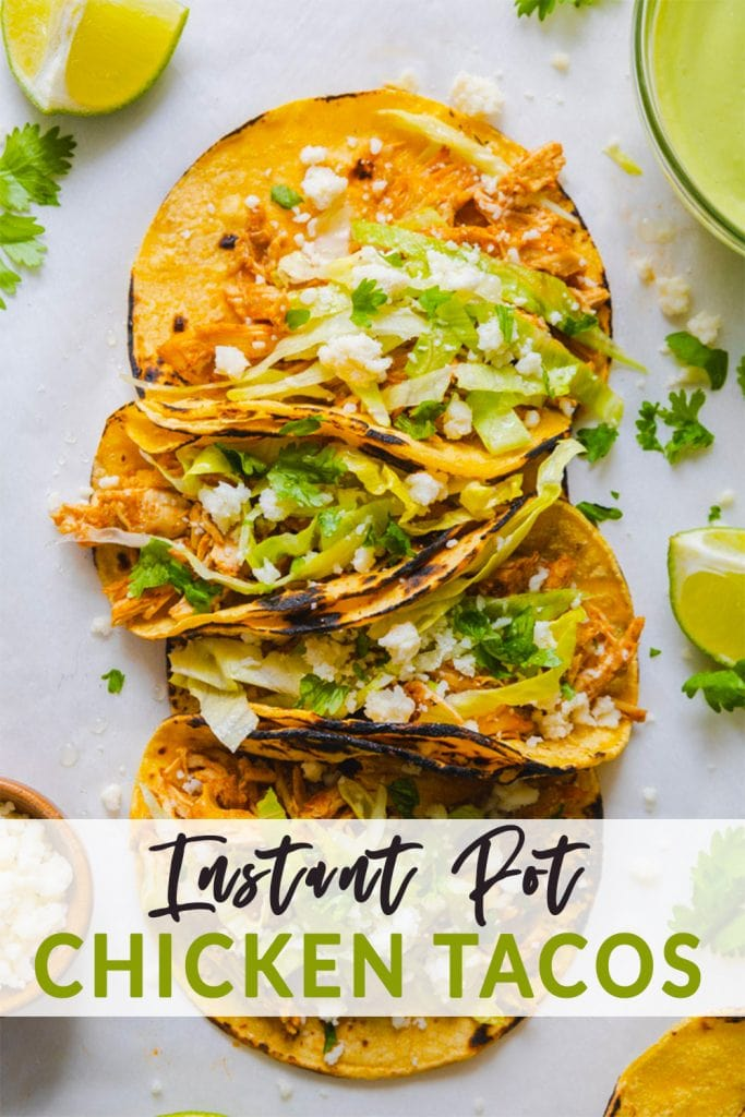a bunch of instant pot chicken tacos in a row with toppings around them.