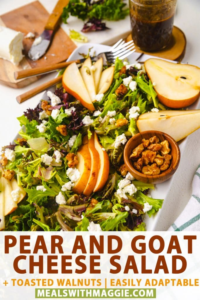 a pear and goat cheese salad on a plate with balsamic vinaigrette