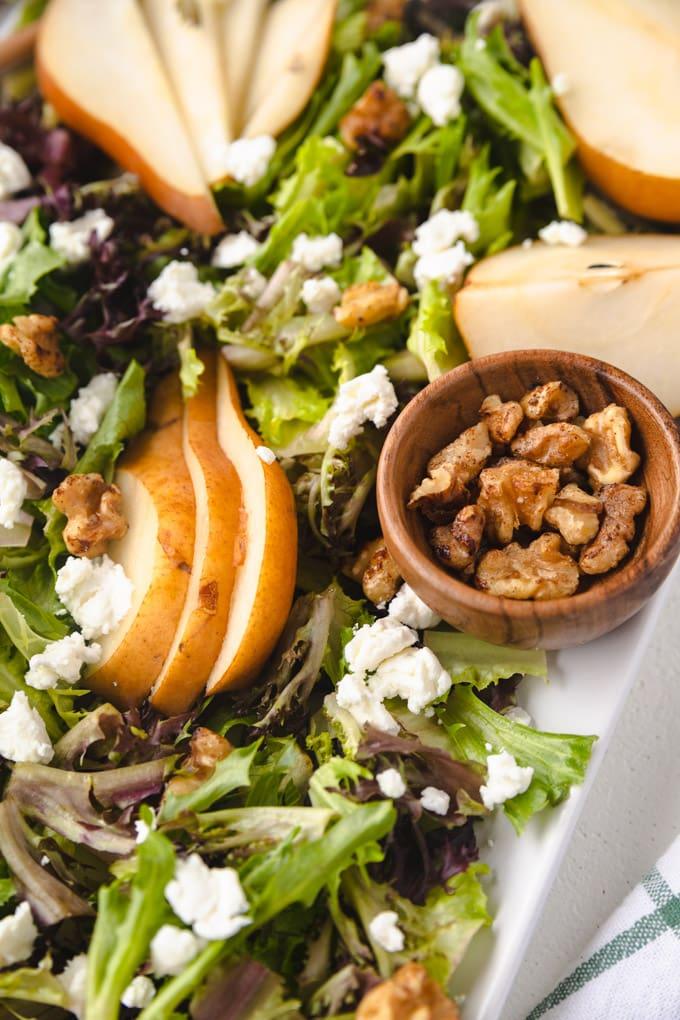 pear balsamic salad on a platter.