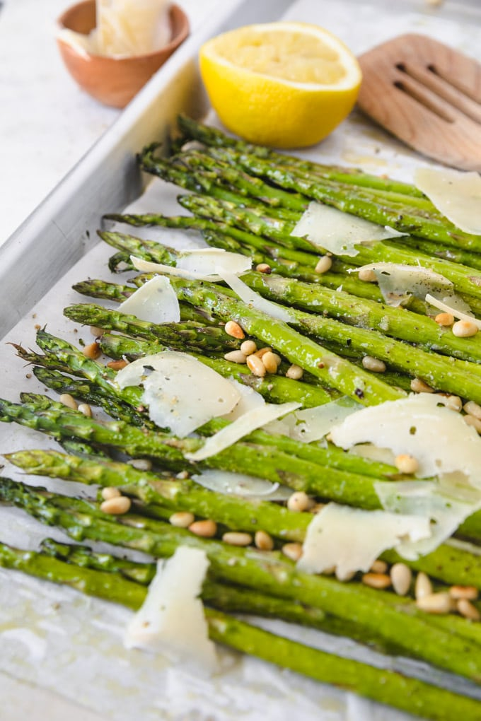 Oven roasted asparagus with lemon and parmesan cheese.