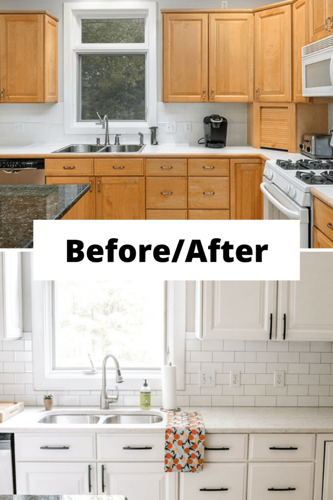 Before and after image of kitchen remodel with white cabinets and white subway tile and marbled quartz.