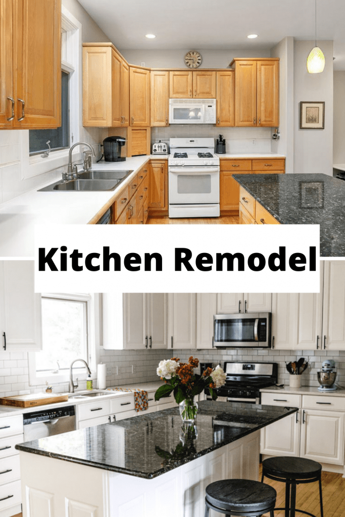Before and after kitchen remodel from maple cabinets to white cabinets.