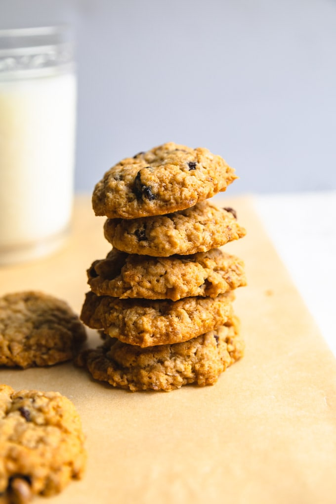 oatmeal raisin cookies with a glass of milk.