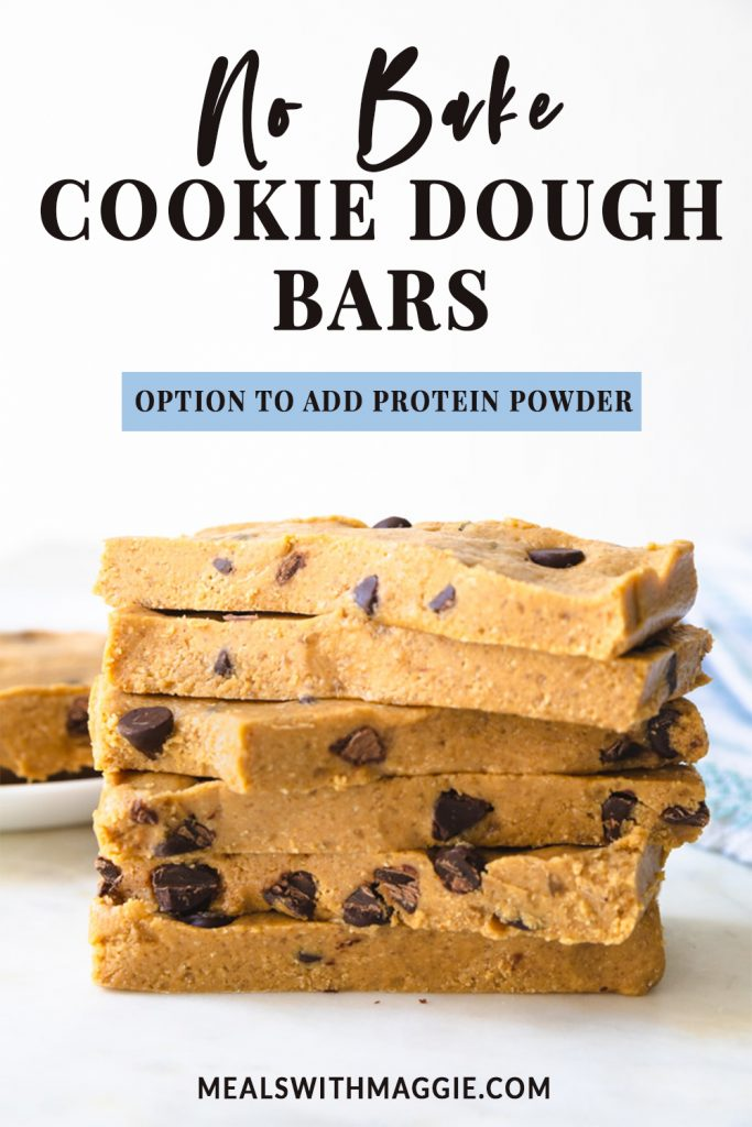 cookie dough bars with text above them.