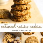 oatmeal raisin cookies in on parchment paper with text