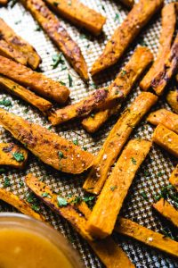 sweet potato fries with parsley and salt.