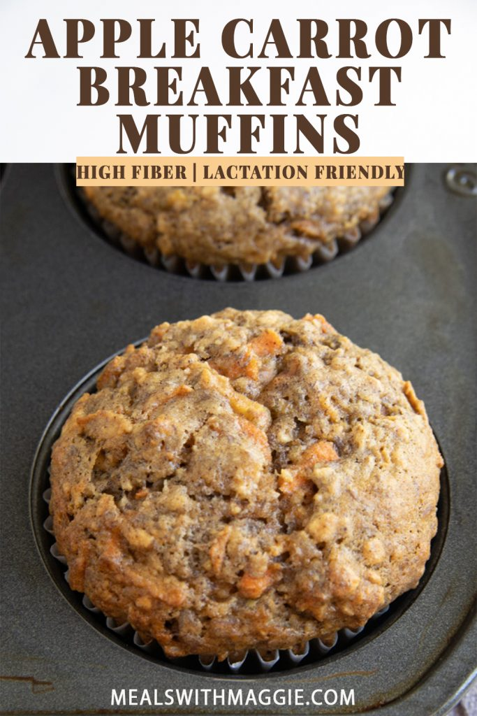 a cooked carrot apple breakfast muffin in a muffin tin.