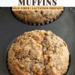 muffin in muffin tin with text over it.
