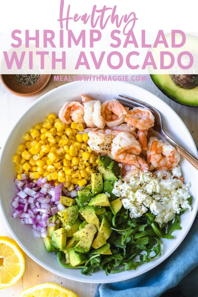 shrimp salad with avocado in a bowl with text above it.