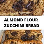 inside of almond flour zucchini bread with chocolate chips