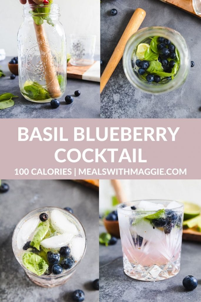 blueberries in a mason jar with alcohol and basil.