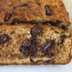 a slice of zucchini bread with chocolate chips