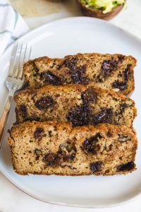 three slices on zucchini bread on a plate.