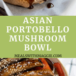 a mushroom being brushed with marinade and a bowl full of stir fry