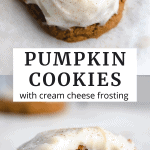 cookies on a sheet pan with frosting and pumpkin spice on top.