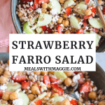 strawberry farro salad in a bowl with a fork in it.