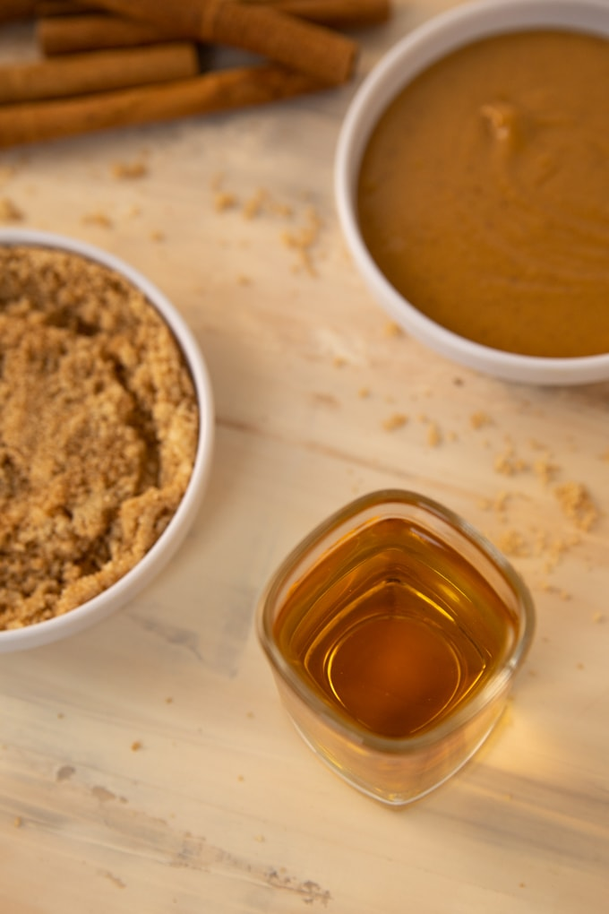 a shot glass full of peanut butter whiskey.