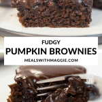fudgy pumpkin brownies being cut with a fork